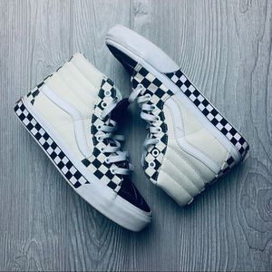 Vans high tops all over checkered